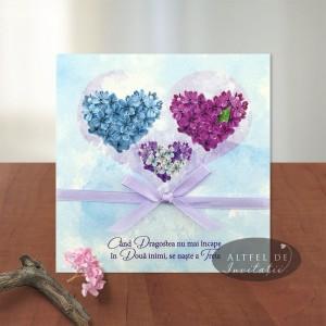 Invitatie 2 in 1 nunta si botez Trei inimi