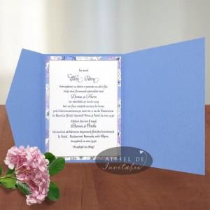 Invitatie Petrecere cu stil albastru cu manson lila - altfeldeinvitatii.ro