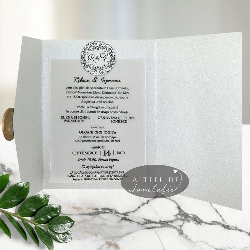 Invitatie nunta Sigiliul timpului argintiu
