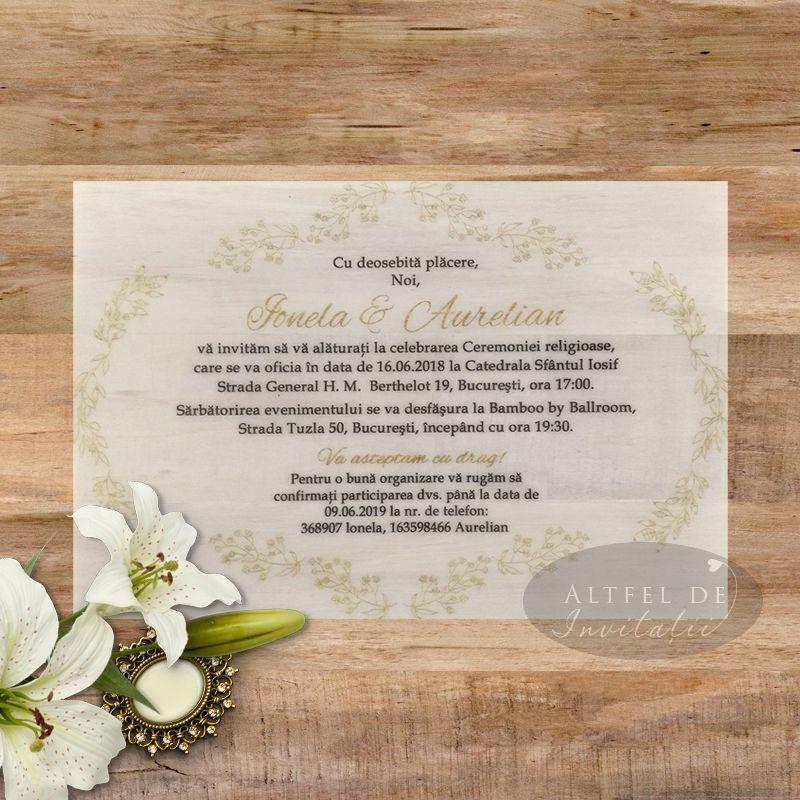 Invitatie nunta Serenitate transparenta