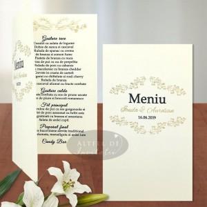 Meniu nunta Serenitate transparenta din carton special
