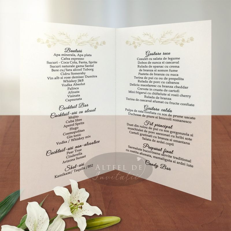 Meniu nunta Serenitate transparenta
