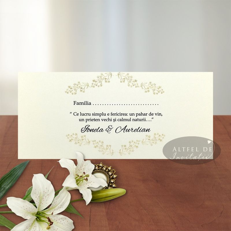 Place card Serenitate transparenta carton special