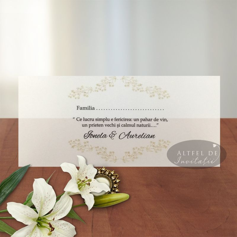Place card Serenitate transparenta model transparent