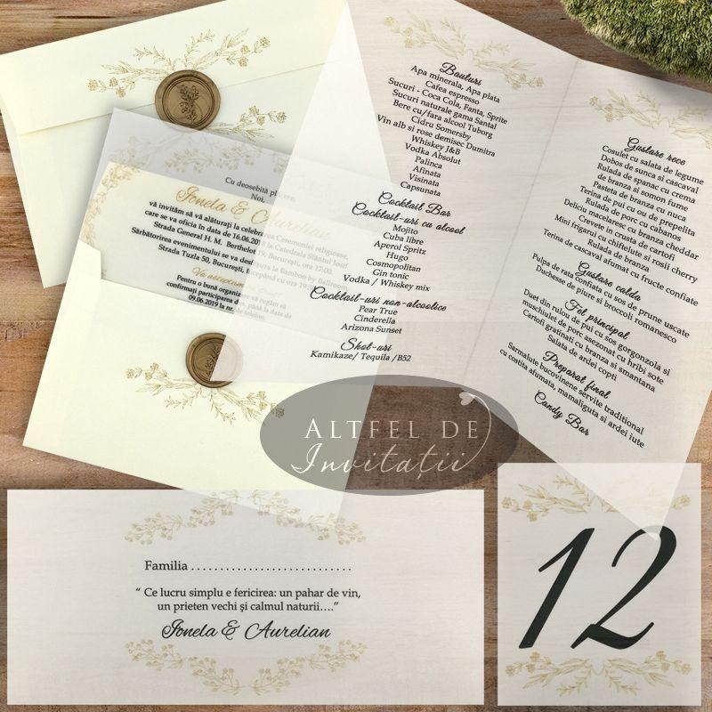 Set complet nunta Serenitate transparenta din hartie transparenta