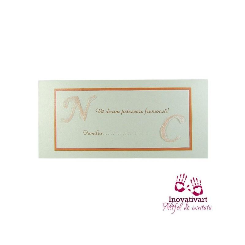Plic de bani cu initiale M013 alb-argintiu-rosu