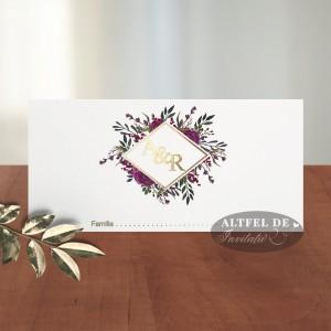 Place card Monograma cu stil - flori