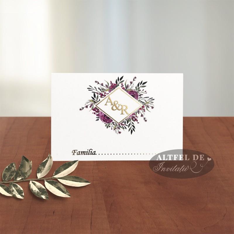 Card nume Monograma cu stil - flori