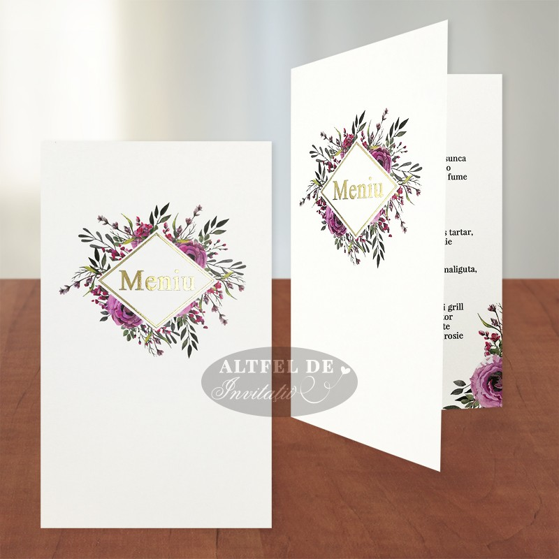Meniu nunta Monograma  cu stil - flori