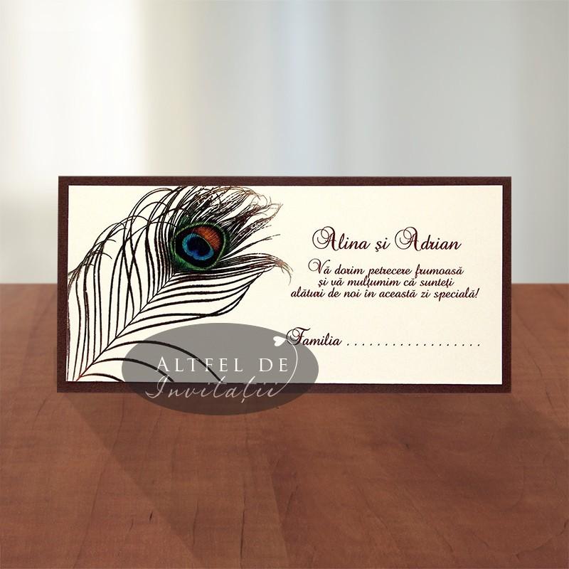 Place card - plic bani - Paun maro crem ivoire