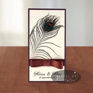 Invitatii nunta Paun maro ivoire