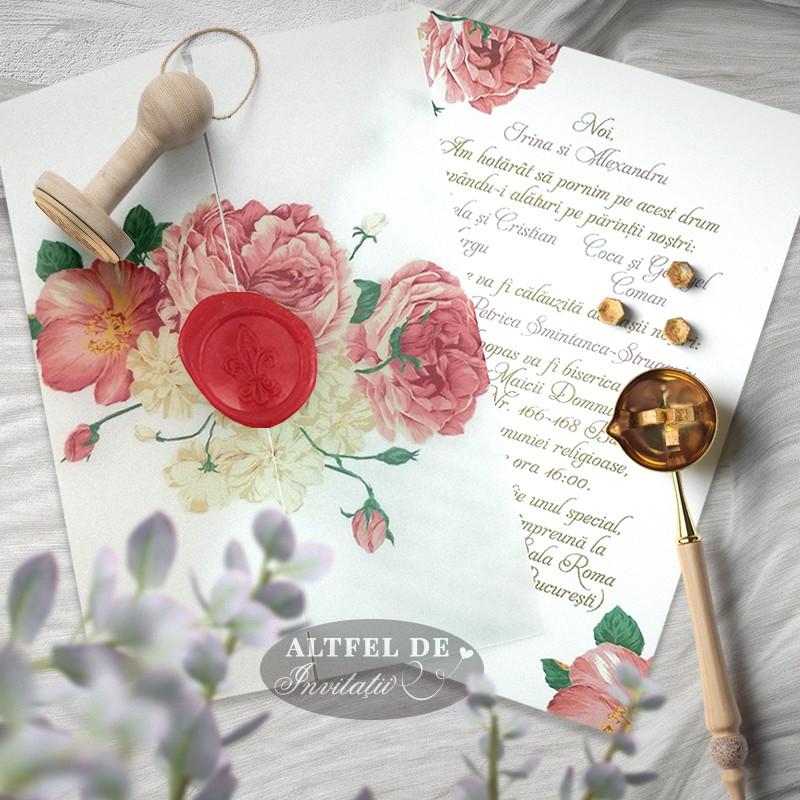 Invitatii de nuntă Trandafiri pe vellum