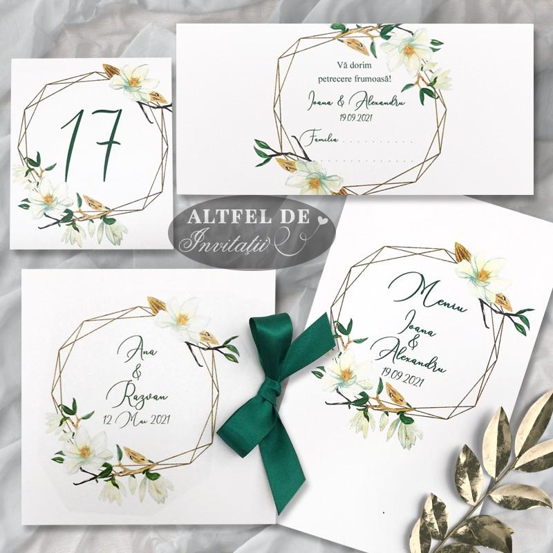 Set complet de papetarie de nunta Parfum de magnolie