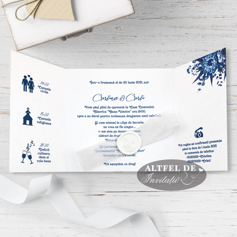 Invitatie de nunta Venetia alb-albastru regal