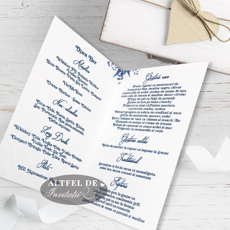Meniu de nunta Venetia - carton alb premium