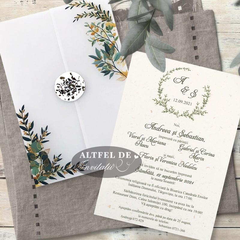 Invitatie nunta Vise si dorinte cu frunze