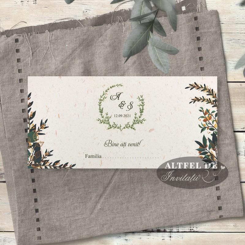 Place card nunta - plic de bani Vise si Dorinte cu frunze