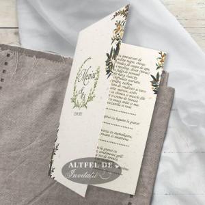Meniu nunta Vise si Dorinte cu frunze stilizate