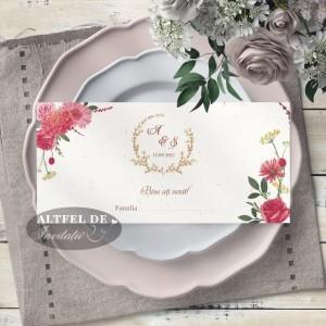 Place card nunta - plic de bani Vise si Dorinte cu flori