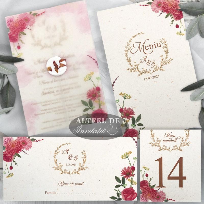 Set complet de papetarie nunta Vise si dorinte cu flori