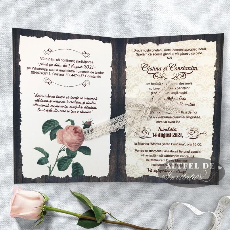 Invitatie de nunta Romantica - interior
