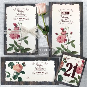 Set Complet papetarie nunta Romantica - invitatie de nunta Romantica, plic de bani, numar, meniu - Altfeldeinvitatii.ro