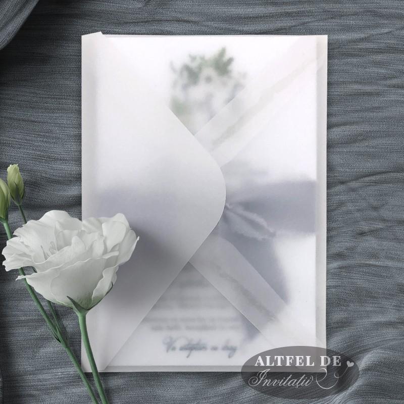 Invitatia de nunta Colectie de zambete in plic transparent de calc