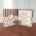 Invitatie nunta Paris CN7 maro-crem-roz