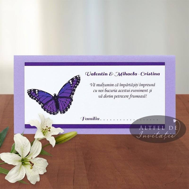 Plic de bani fluture M016c alb-mov-lila