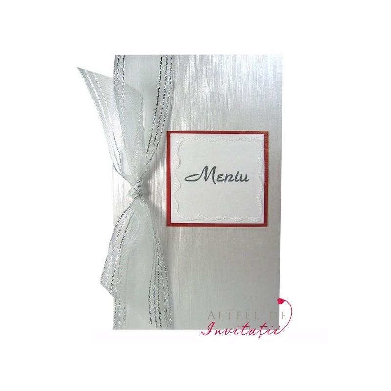 Meniu cu initiale A013 argintiu-alb-rosu