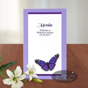 Meniu nunta fluture A016c mov-alb