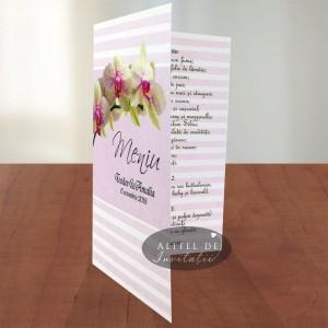 Meniu Orhidee ACN14 roz- scris verde inchis