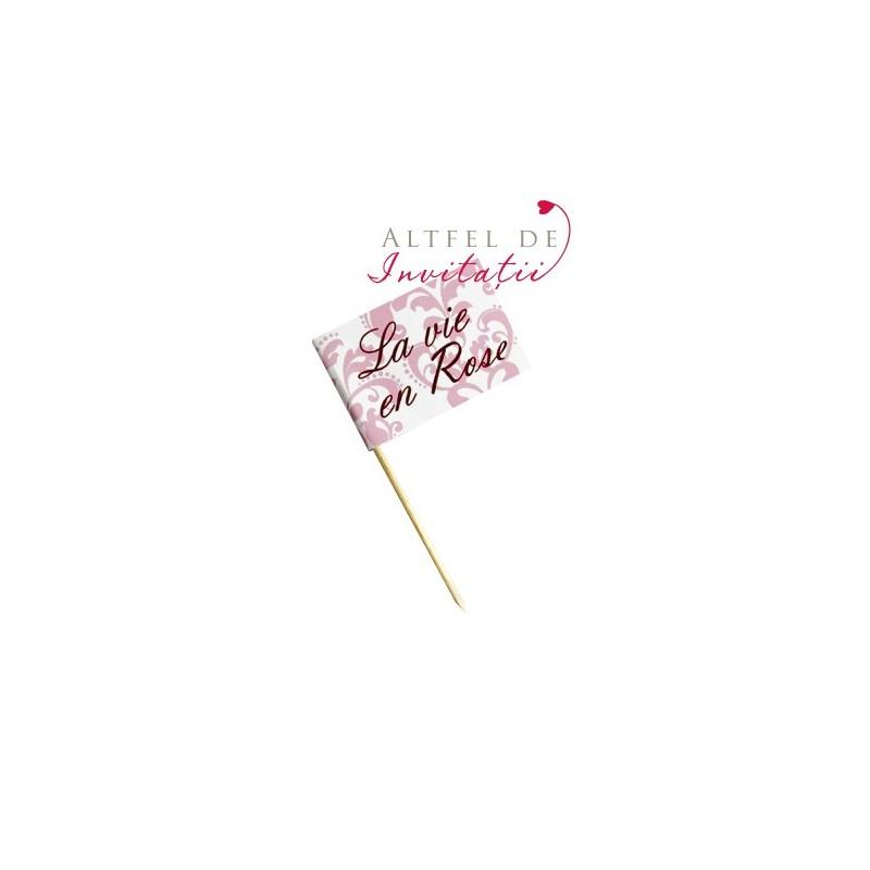 Eticheta stegulet alb roz lila maro