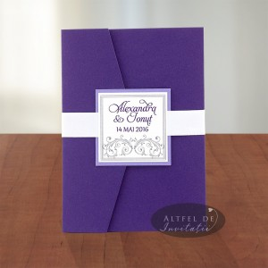 Invitatie nunta Vis violet alb