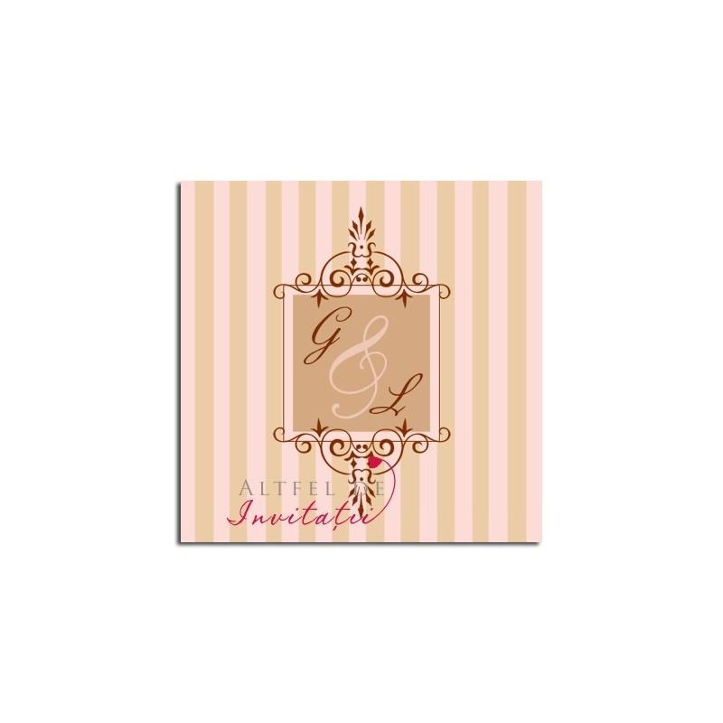 Invitatii Nunta Ciocolata cu zmeura roz alb negru