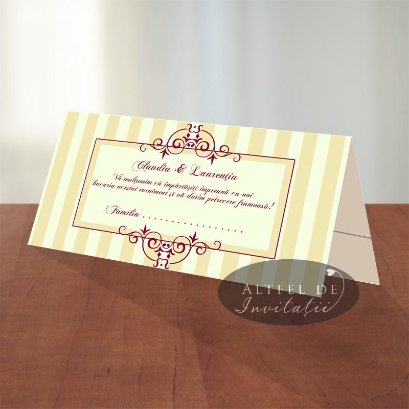 Place card nunta Ciocolata cu zmeura bordo crem ivoire