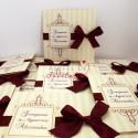 Invitatii nunta Cioco zmeura cu fundita visinie