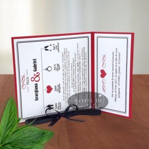 Invitatie nunta happy end alb rosu negru