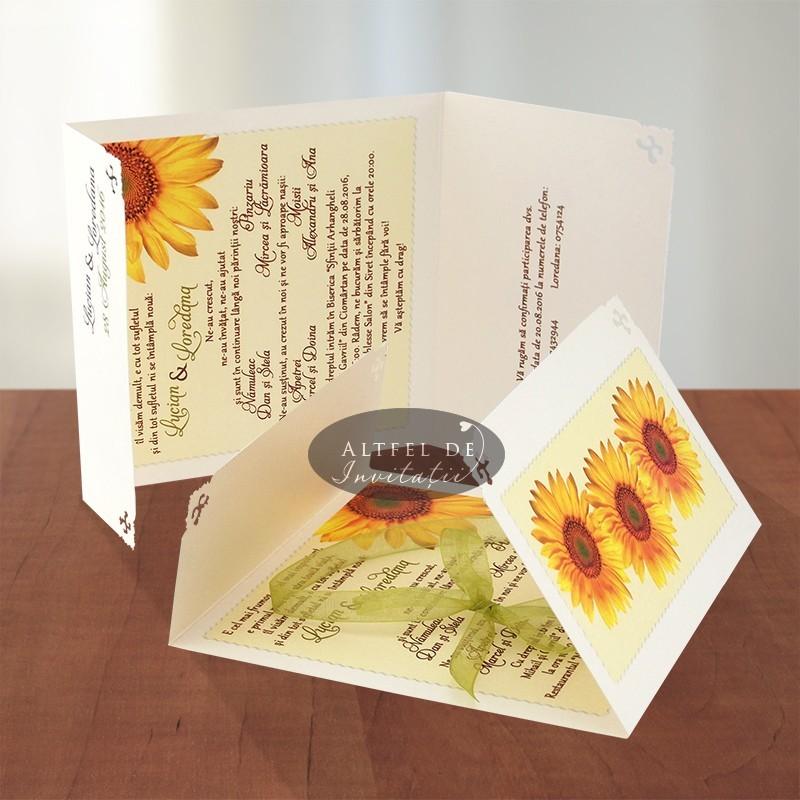 Invitatii nunta Floarea Soarelui crem cu organza verde
