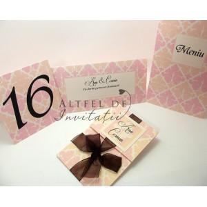 Place card nunta Piersici roz-somon