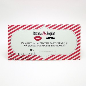 Place card pentru nunta Noi doi roz - altfel de invitatii